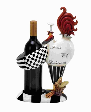 "15""H Polystone Rooster Wine Holder in innovative Shaped Brand Woodland"