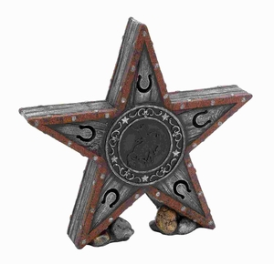 "15""H Polystone Star in Cowboy accents with attractive Emblem Brand Woodland"