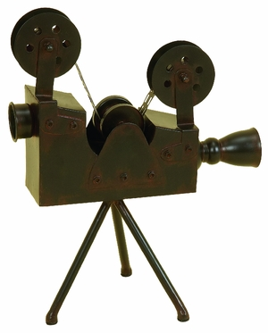 """15"""" Tall Antiqued Movie Two Reel Spool Camera with Tripod Brand Woodland"""