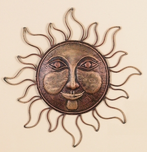 "16"" Classic Metal Sun Face Brass Wall Decor Art Sculpture Brand Woodland"