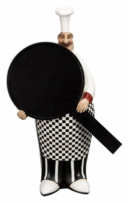 "16"" French Resin Fat Chef with Chalk Board Menu Sign Board Brand Woodland"