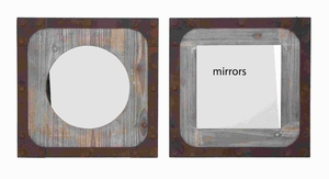 "16""H 2 Assorted Wooden Mirrors with Wooden Window Matte Brand Woodland"