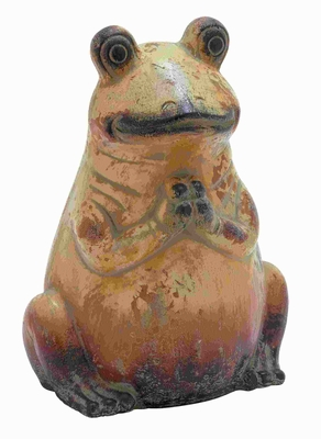 """16""""H Ceramic Frog with Weathered Painting and Rustic Finish Brand Woodland"""