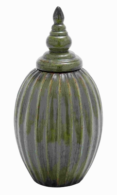 "16""H Ceramic Jar with Rusted Accents on a Green Background Brand Woodland"