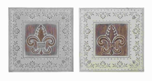 "16"" H Metal Wall Decor 2 Assorted with Dark Brown Art Work Brand Woodland"