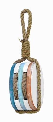 "16""H Unique Wood Rope Nautical Decor with High Decorative Finish Brand Woodland - 78723 by Benzara"