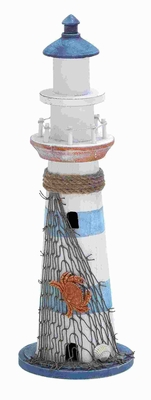 "16""H Wood Lighthouse Accented with Marine Theme Details Brand Woodland"