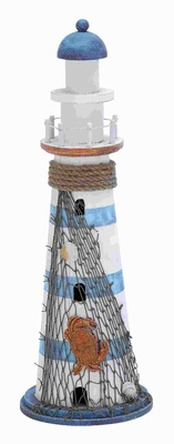 "16""H Wood Lighthouse in Marine Theme and attractive Colors Brand Woodland"