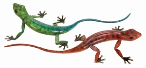 "16"" Lizards Statue Sculpture in Metallic Finish - Set of 2 Brand Woodland"