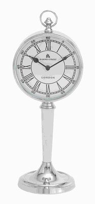 """16"""" Metal Nickel Plated Table Clock with Classic Design Brand Woodland"""