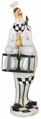 """16"""" Polyresin French Fat Chef with Salt and Pepper Mills Brand Woodland"""
