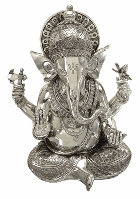 "16"" Silver Ganesha Statue Elephant Head God Of Success Brand Woodland"