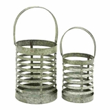 "16"" Simple and Elegant Metal Galvanized Lantern (Set of 2) Brand Woodland"