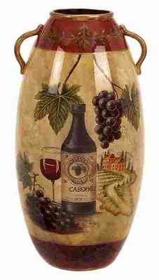 "16"" Waterproof Ceramic Vase Crafted with Intricate Detailing Brand Woodland"