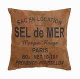 "17"" Authentic Real Leather Pillow with 'Sel De Mer' Print Brand Woodland"