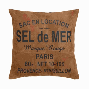 """17"""" Authentic Real Leather Pillow with 'Sel De Mer' Print Brand Woodland"""