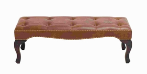 "17"" Contemporary Wood Leather Bench with Timeless Design Brand Woodland"