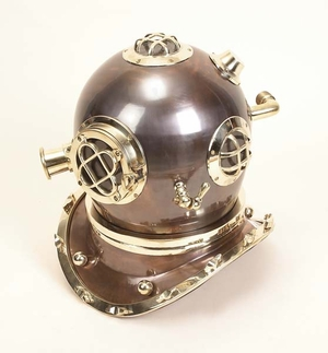 "17"" Decorative Nautical Diving Helmet in Antique Brass Finish Brand Woodland"