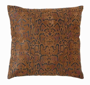 "17"" Designer Real Leather Pillow with Hexagonal Texture Brand Woodland"