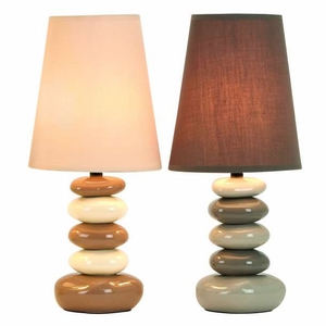"17"" Designer Table Lamps with Shade in White and Brown - Set of 2 Brand Woodland"