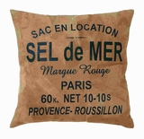 "17"" H Attractive Real Leather Pillow with 'Sel De Mer' Print Brand Woodland"
