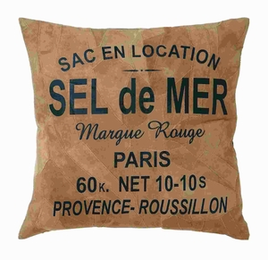 """17"""" H Attractive Real Leather Pillow with 'Sel De Mer' Print Brand Woodland"""