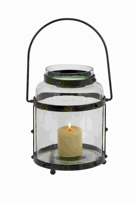 "17""H Beautiful Metal Glass Lantern with Solid Metal Frame Brand Woodland"