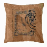 "17"" H Beautiful Real Leather Pillow with Post Stamp Print Brand Woodland"