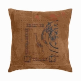 "17"" H Designer Real Leather Pillow with Post Stamp Print Brand Woodland"