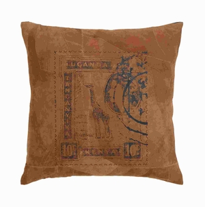 """17"""" H Designer Real Leather Pillow with Post Stamp Print Brand Woodland"""