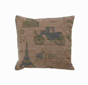 """17""""H Fabric Pillow with Eiffel Tower and Vintage Car Print Brand Woodland"""