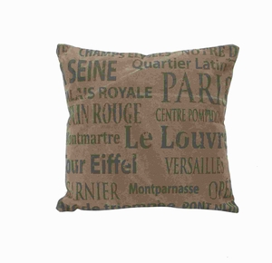 "17"" H French Valentine Fabric Pillow in Brown Color Base Brand Woodland"