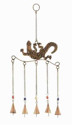 "17""H intricate Design Gecko Wind Chime Rust Resistant Metal Brand Woodland"