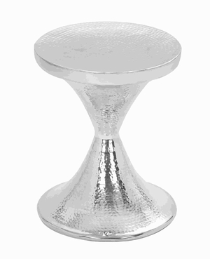 "17"" H Modern Aluminium Hammered Stool with Conical Design Brand Woodland"