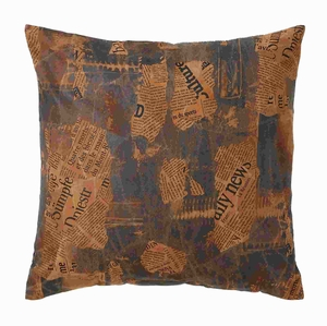 "17"" H Real Leather Pillow with Newspaper Cut-Out Prints Brand Woodland"