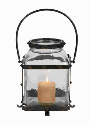 "17""H Traditional Metal Glass Lantern in Worn and Aged Finish Brand Woodland"