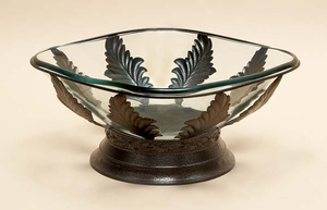 "17"" Handcrafted Vintage Metal Glass Bowl with Metal Stand Brand Woodland"
