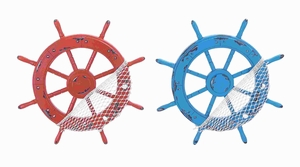 """18"""" Attractive and Modern Wood Ships Wheel Hook 2 Assorted Brand Woodland"""