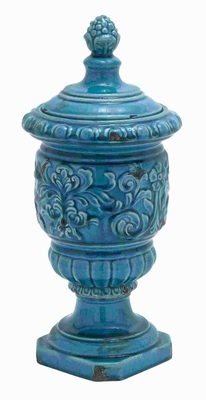 "18""H Beautiful Ceramic Jar Accented with Intricate Detail Work Brand Woodland"