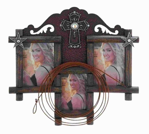 "18""H Beautiful Wood Ps Photo Frame with Cowboy Theme accents Brand Woodland"
