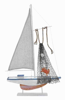 "18""H Beautiful Wood Sailing Boat with Stable Wooden Stand Brand Woodland"