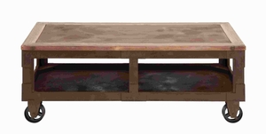 "18""H Classic Elaborate Wood Coffee Table with Durable Casters Brand Woodland"