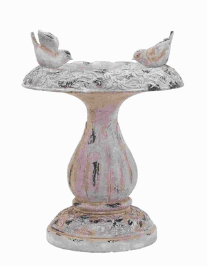 "18""H Fiber Glass Bird Bath with Attractive Rustic Design Brand Woodland"