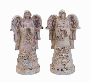 "18""H Fiber Glass Garden Angel with Vintage Finish (Set of 2) Brand Woodland"