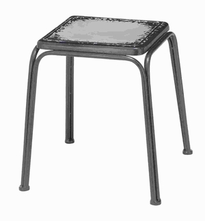 "18""H Matt Black Metal Stool Styled with Metal Tubing Frame Brand Woodland"