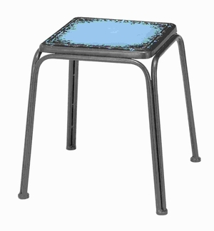 "18""H Metal Stool with Classic Design in Distressed Finish Brand Woodland"
