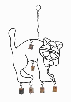 "18""H Rustproof Metal Crafted Cute Wind Chime with A Cat Design Brand Woodland"