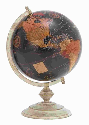 "18"" H Unique Metal Globe with Metallic Base & Glossy Polish Brand Woodland"
