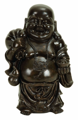 "18"" Polystone Happy Laughing Buddha Peace Prosperity Statue Brand Woodland"