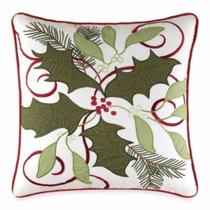 "18"" X 18"" Embroidered Pillow, Holiday-Garland Brand C&F"